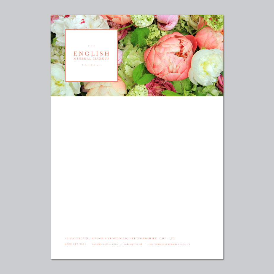 English Mineral Makeup Letterhead Design