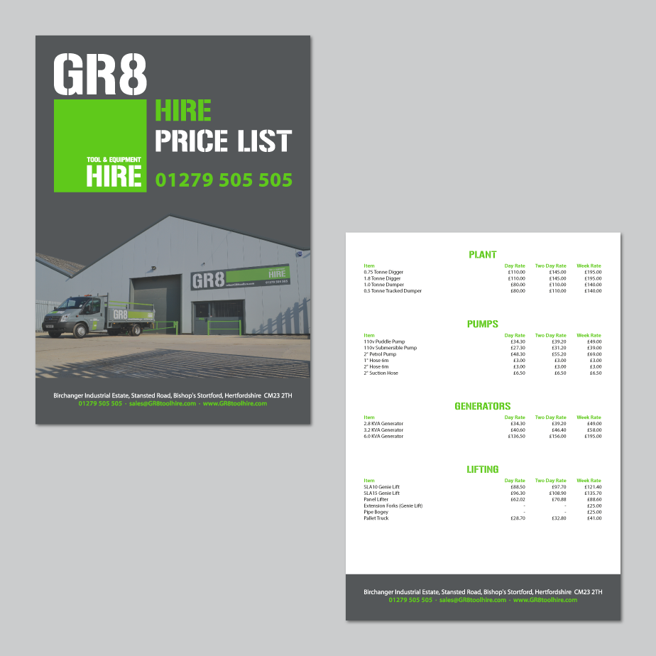 GR8 Tool Hire Price List